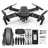 12shage E525 Faltbare Drohne mit Kamera HD 1080P,Hindernisvermeidung in 4 Richtungen, 15 Minuten Flugzeit,Handy Steuerung,HD-Videoübertragung,360° Flip ,Geeignet für Anfänger,Flugstabilität (Schwarz)