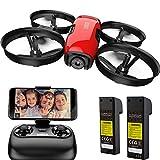 SANROCK U61W Drohne für Kinder mit Kamera, RC Quadcopter mit 720P HD WiFi FPV Kamera, Höhe halten, Routenerstellung, Headless-Modus, EIN-Knopf Start / Landung, Not-Aus, Rot